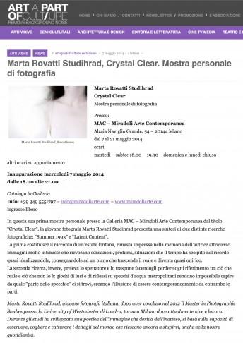 Art a part of culture$$http://www.artapartofculture.net/2014/05/07/marta-rovatti-studihrad-crystal-clear-mostra-personale-di-fotografia/