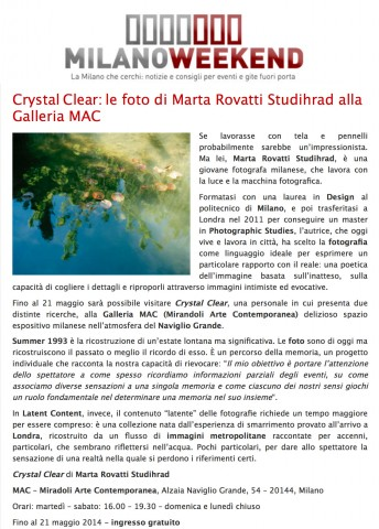 Milano Weekend$$https://www.milanoweekend.it/2014/05/08/crystal-clear-marta-rovatti-studihrad-alla-galleria-mac/28853#.VgGVmVzDl-M
