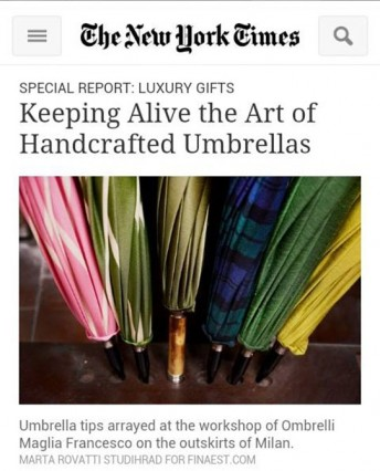The New York Times $$ http://www.nytimes.com/2013/11/19/fashion/keeping-alive-the-art-of-handcrafted-umbrellas.html?_r=0