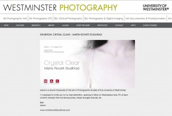 Westminster University$$http://www.westminsterphotography.co.uk/exhibition-crystal-clear-marta-rovatti-studihrad/