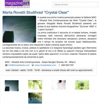 Magazine Art$$http://www.magazineart.net/mostre/marta-rovatti-studihrad-crystal-clear.html
